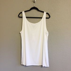 NWT Eileen Fisher White Viscose Jersey Tank Top 1X